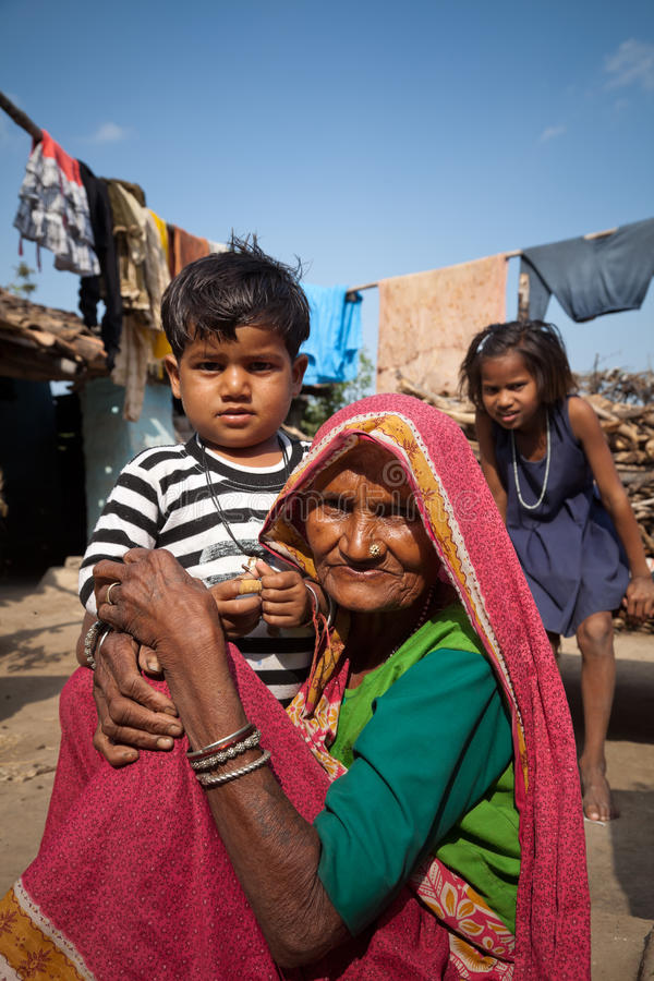 Indian children with very old grandma stock photo