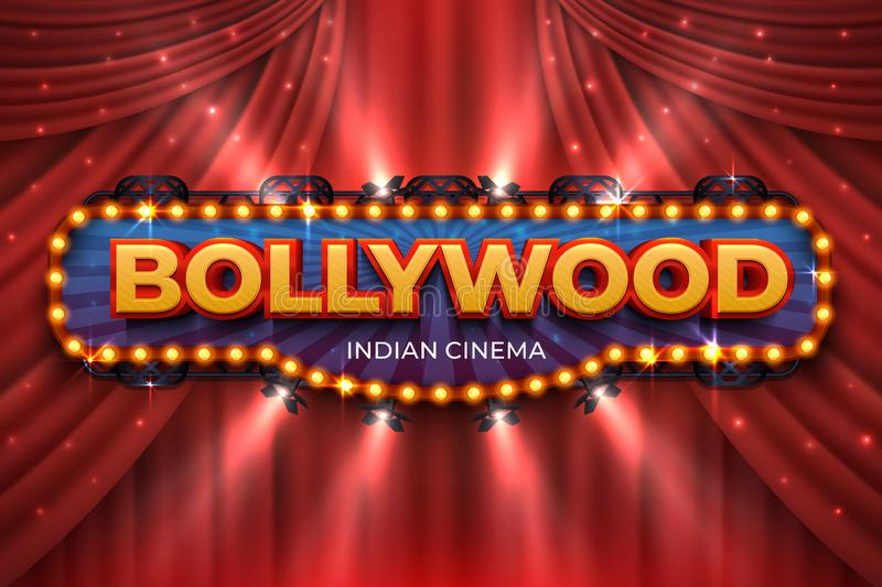 Indian cinema background. Bollywood film poster with red drapes, 3D realistic movie award stage. Vector Bollywood vector illustration