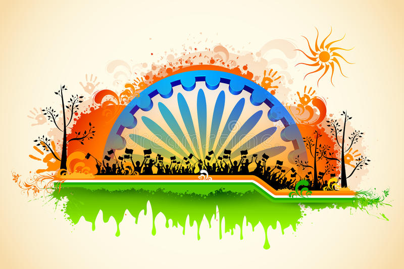 Indian citizen waving flag on tricolor flag. Illustration of Indian citizen waving flag on tricolor flag stock illustration
