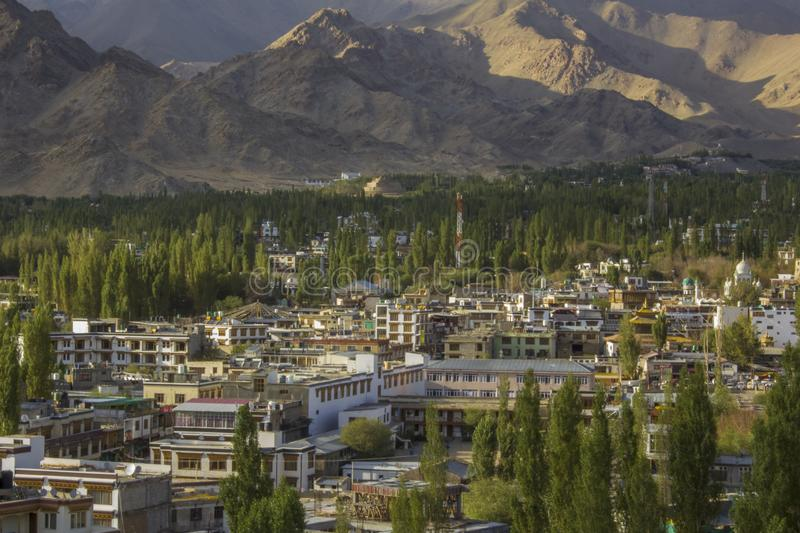 Indian city in the Himalayan valley. A Indian city in the Himalayan valley royalty free stock images