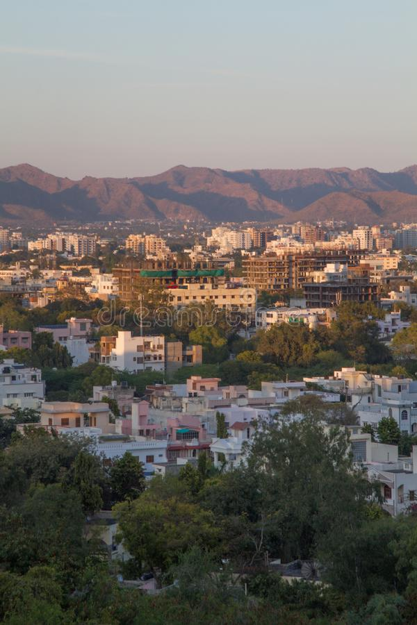 Indian city of udaipur amidst the hills of Aravali mountain ranges of Rajasthan stock photos