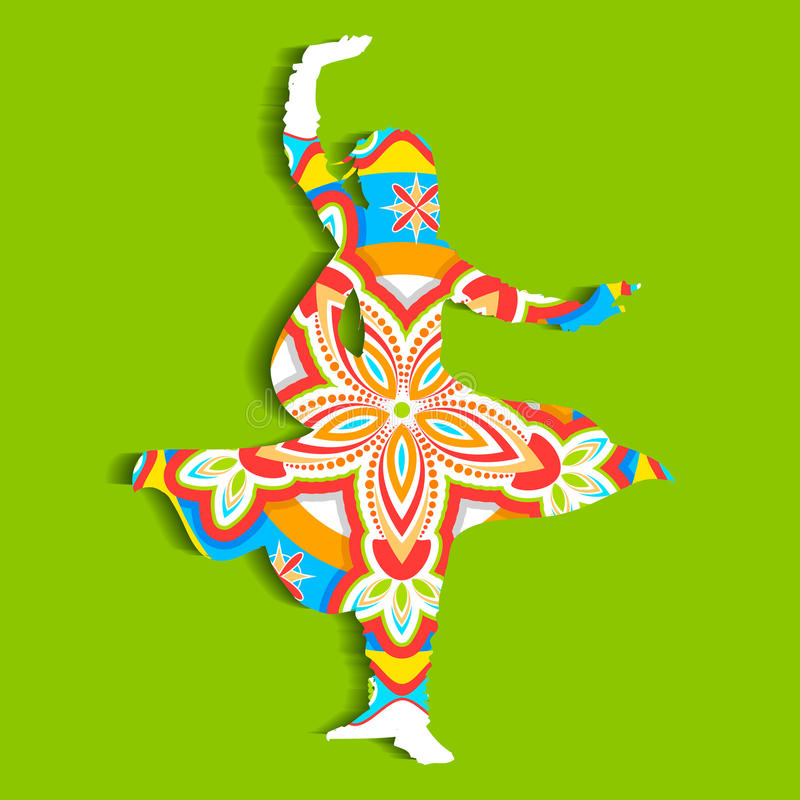 Indian classical Dancer. Illustration of Indian classical dancer performing kathak vector illustration