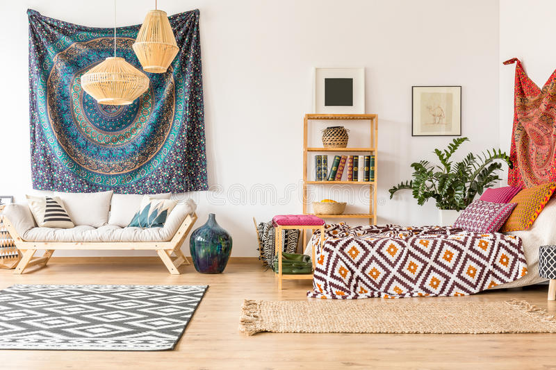 Indian cloth in apartment stock photo