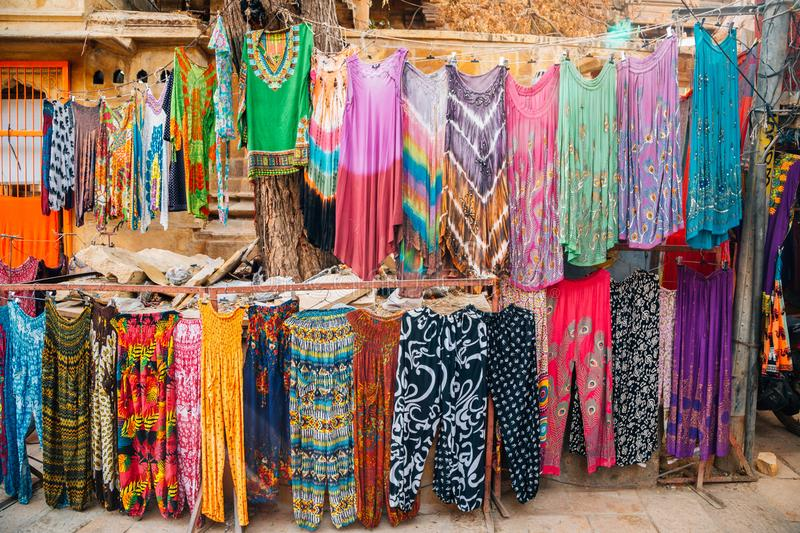 Indian clothes street market in Jaisalmer, India royalty free stock images