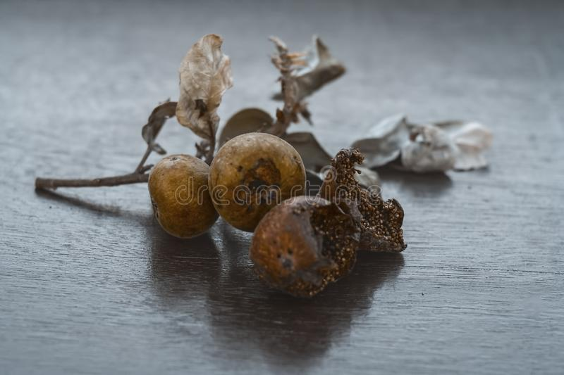 Indian cluster fig on a wooden surface. stock photo