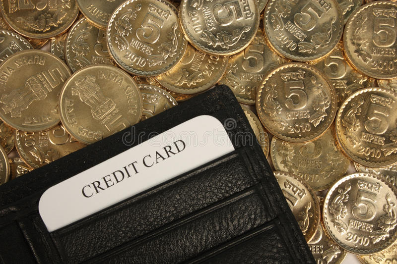 Download Indian Coins With Credit Card Stock Photo - Image: 17940818