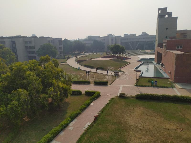 Indian college main site with auditorium view. Indian college in delhi main site morning view of open air auditorium stock photography