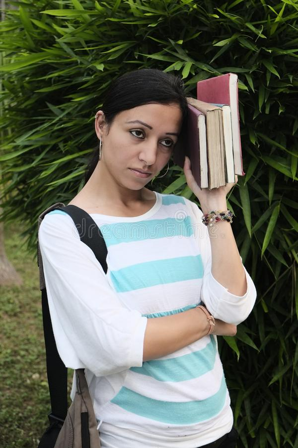 Indian college student is anxious and depressed stock photos