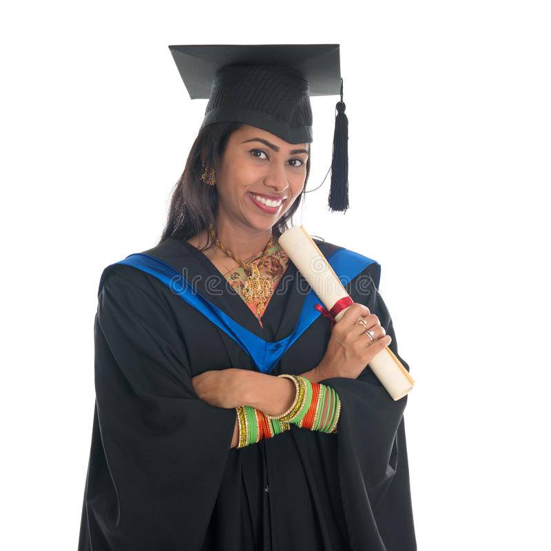 Indian college student graduation. Happy Indian college student in graduation gown and cap holding diploma certificate. Portrait of mixed race Asian Indian and stock image