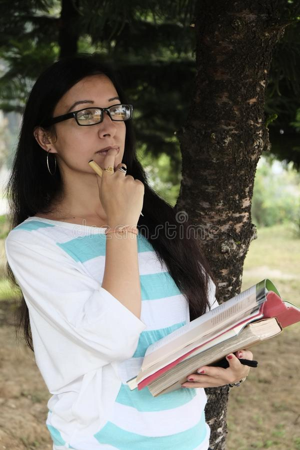 Indian college student taking important decision stock image