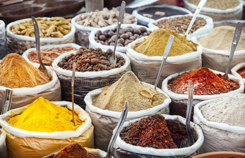 Indian colorful spices royalty free stock photo