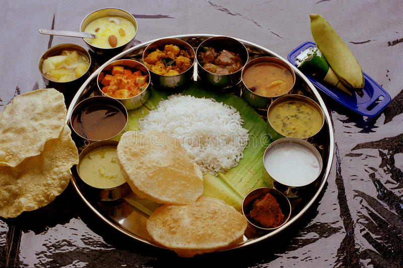 Indian complete Meals thali royalty free stock photos