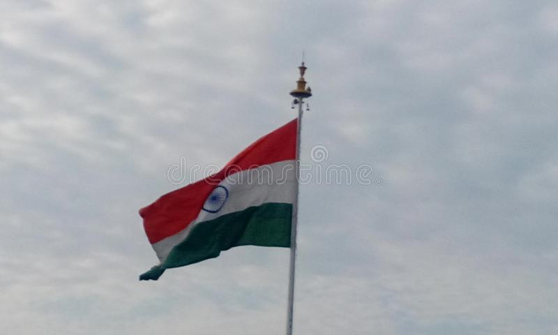 Indian Country Flag pictures captured at chennai International Airport. Picture of India country flag in a flagpole in front of chennai international airport as royalty free stock images