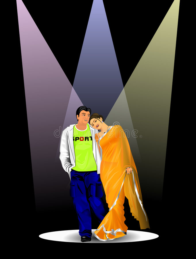 Indian couple vector illustration