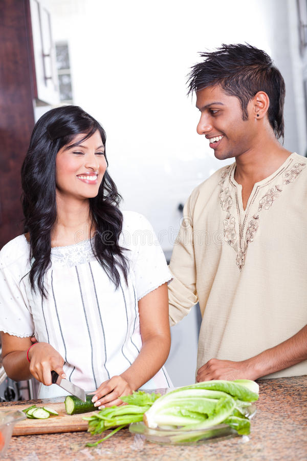 Download Indian couple cooking stock image. Image of cute, chatting - 23391395