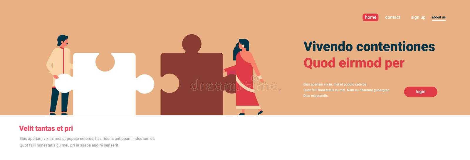 Indian couple putting parts of puzzle together hindu man woman team working concept orange background horizontal banner. Flat copy space vector illustration stock illustration