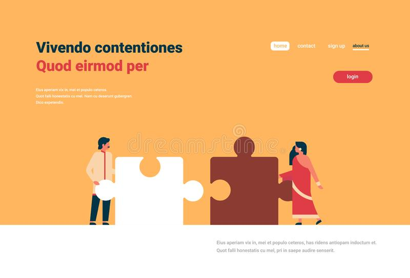 Indian couple putting parts of puzzle together hindu man woman team working concept orange background horizontal flat. Copy space vector illustration stock illustration
