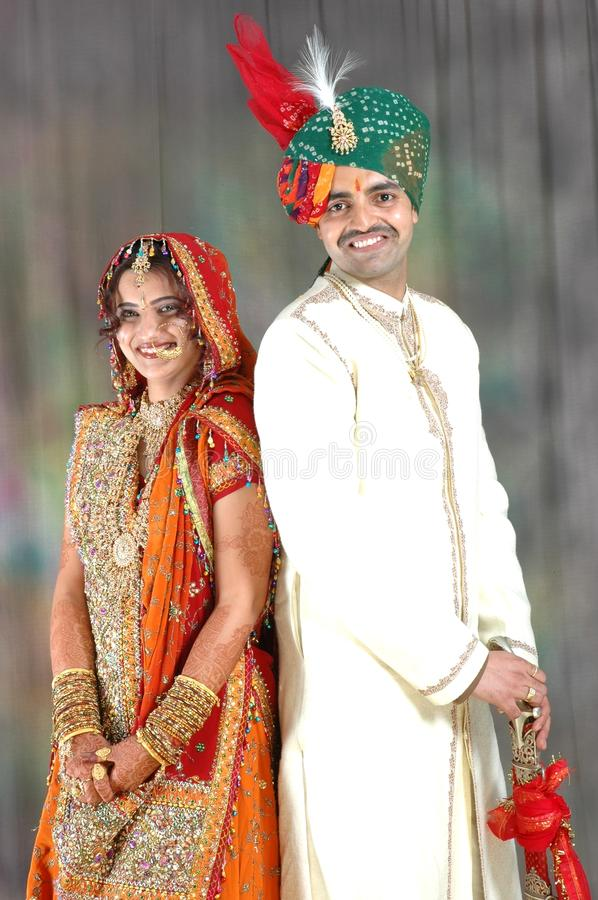 Indian Couple In Wedding Attire Royalty Free Stock Images