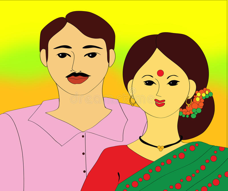 Indian couples vector illustration