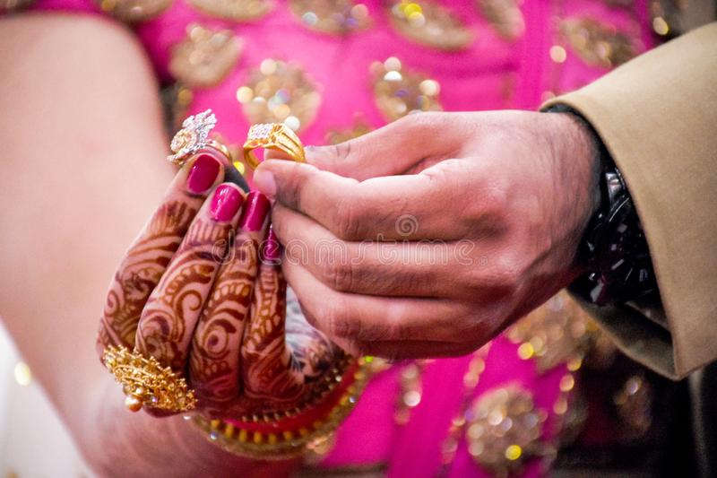 Indian Couples Shows Rings. Indian Couples Shows Engagement Rings stock photos