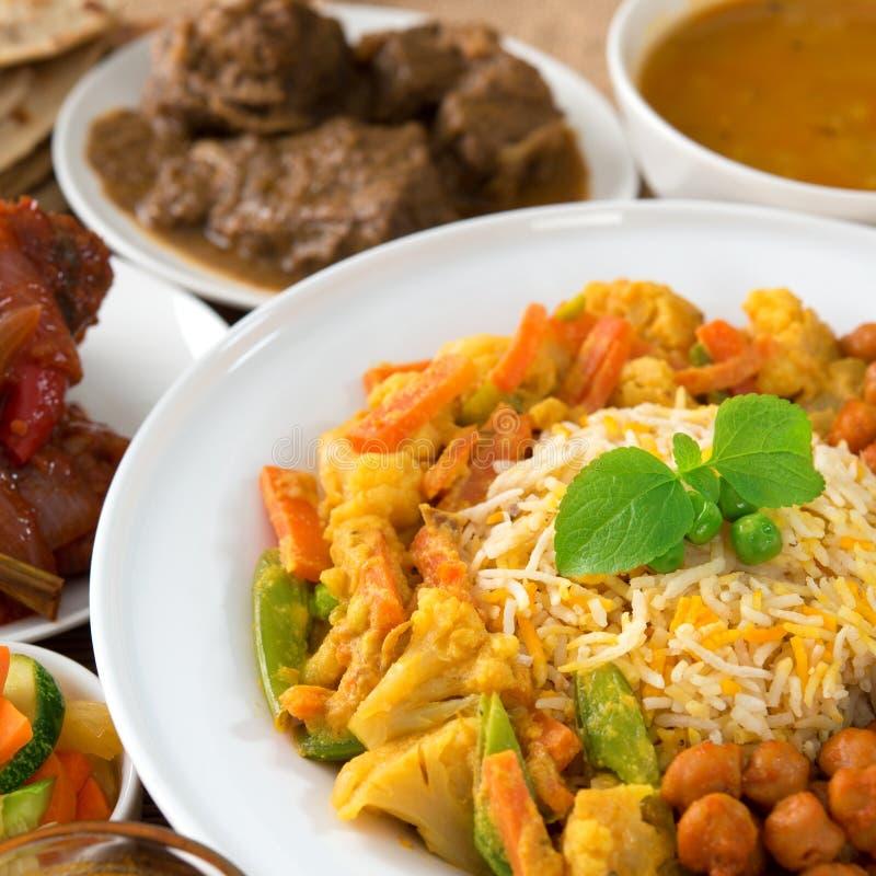 Indian cuisine. Biryani rice and curry stock image