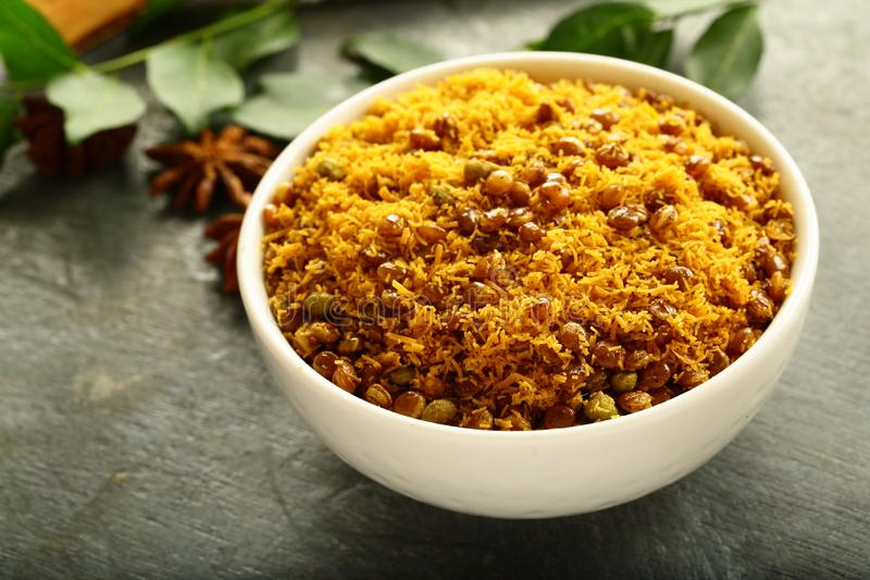 Indian extruded spicy snack- dal biji, royalty free stock photos