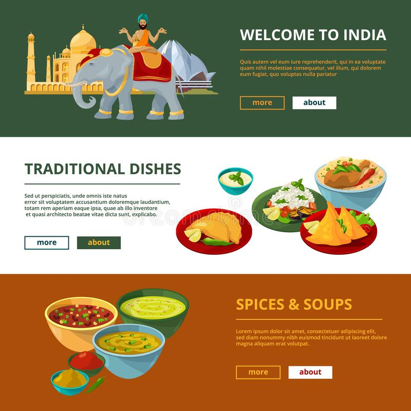 Indian cuisine and different traditional elements. Horizontal banners with place for your text royalty free illustration