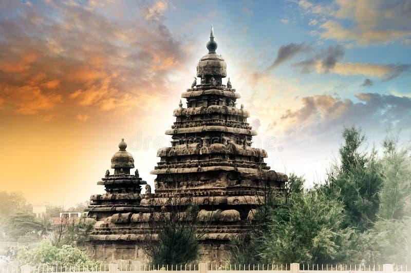 Indian cultural sea shore temple royalty free stock photos