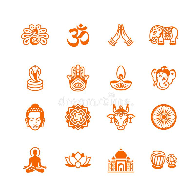 Indian culture icons || MICRO series stock illustration
