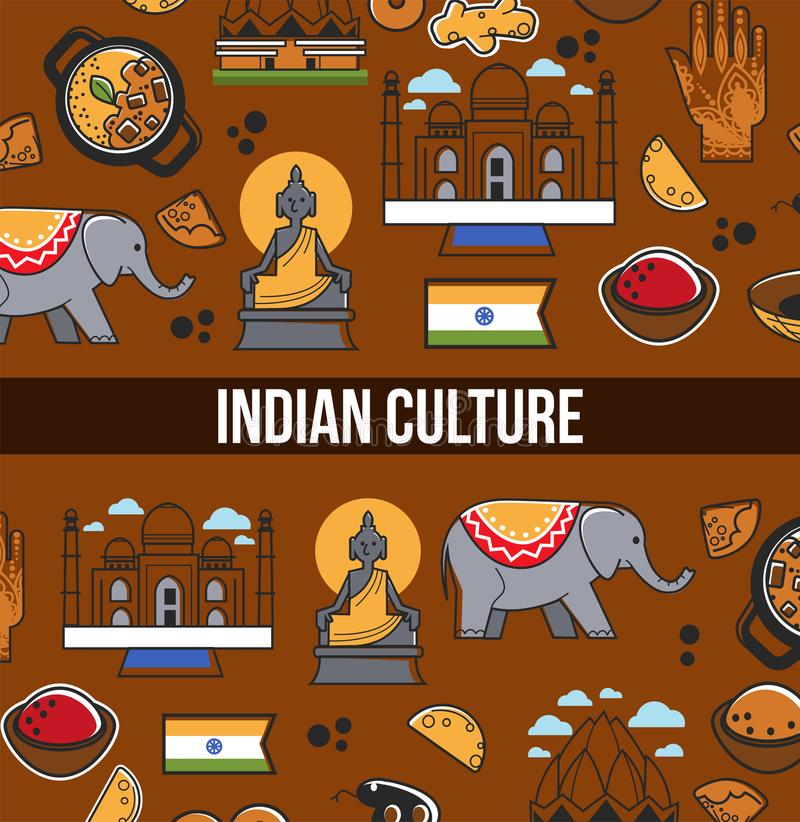 Indian culture symbols and vector India landmarks. Vector poster of India flag, Taj Mahal temple and traditional masala and curry cuisine, Hindu goddess or royalty free illustration