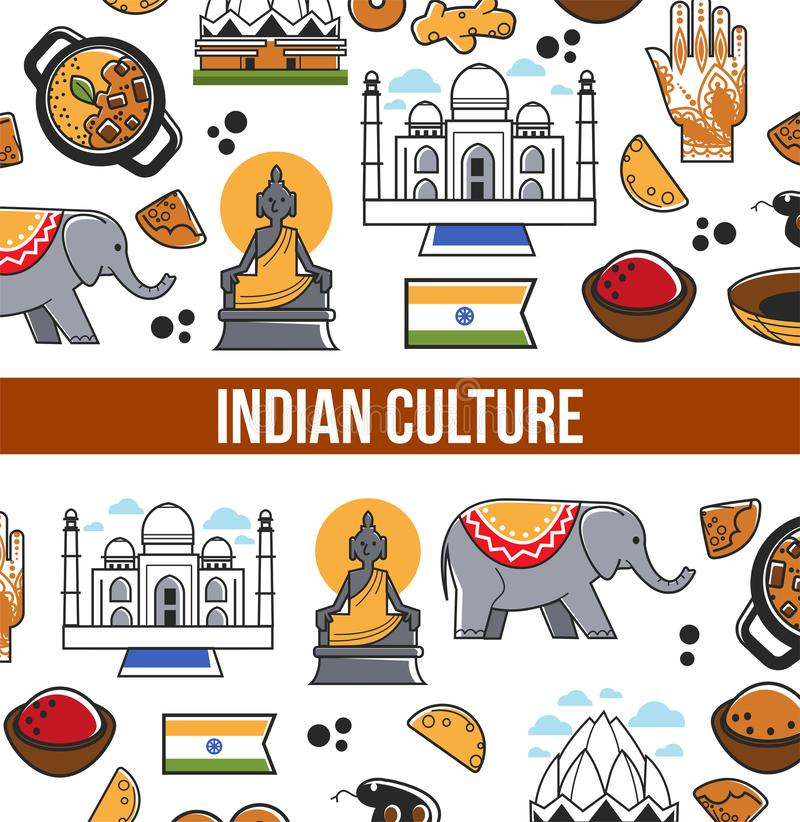 Indian culture symbols and vector India landmarks. Vector poster of India flag, Taj Mahal temple and traditional masala and curry cuisine, Hindu goddess or stock illustration