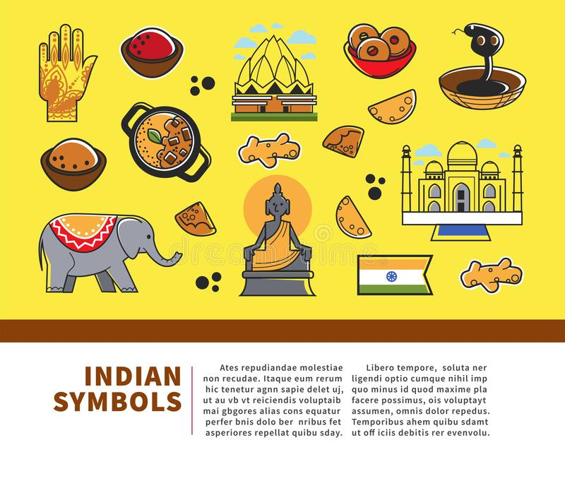 Indian culture symbols and vector India landmarks. Vector poster of India flag, Taj Mahal temple and traditional masala and curry cuisine, Hindu goddess or vector illustration