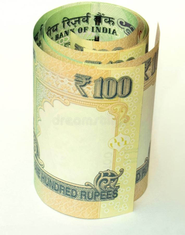 Indian currency. Indian hundred rupees notes folded royalty free stock images