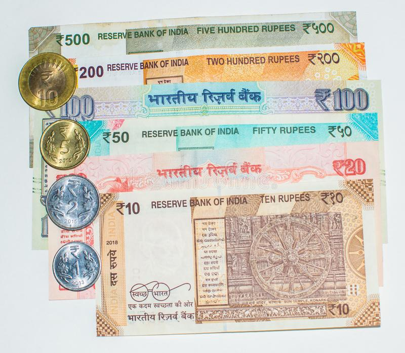 Indian Currency Notes and Coins royalty free stock image
