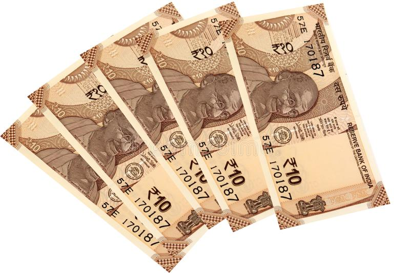 Indian currency 10 rupees on a white backround stock image