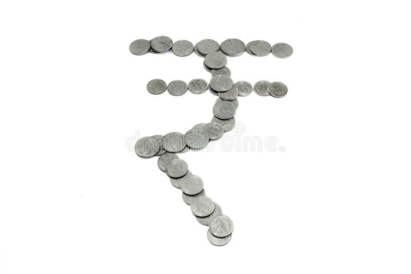 Indian Currency Symbol With The Indian Coins Stock Image Image Of