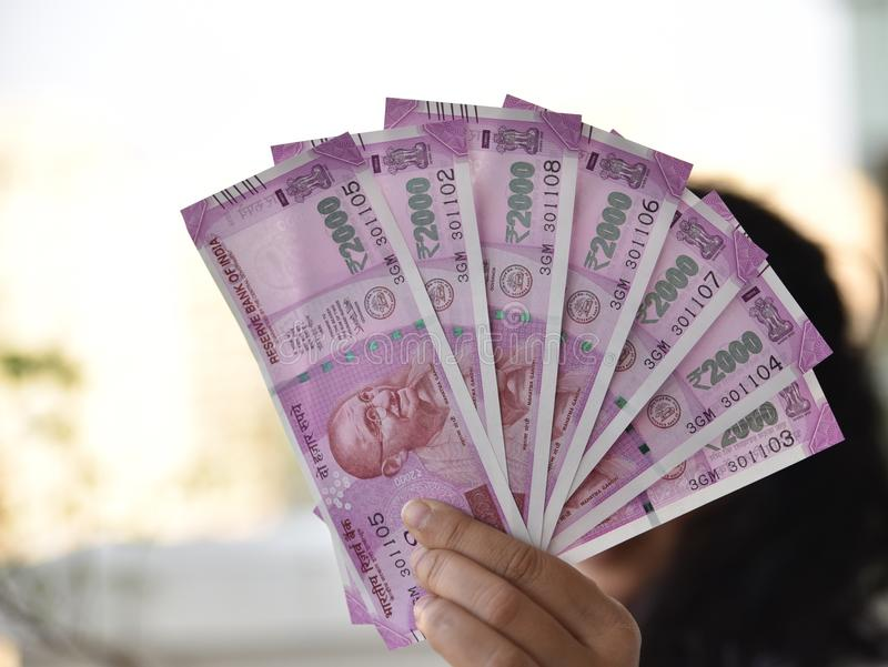 Indian Currency, Two thousand indian rupee in background. New currency introduced to curb Black Money stock image