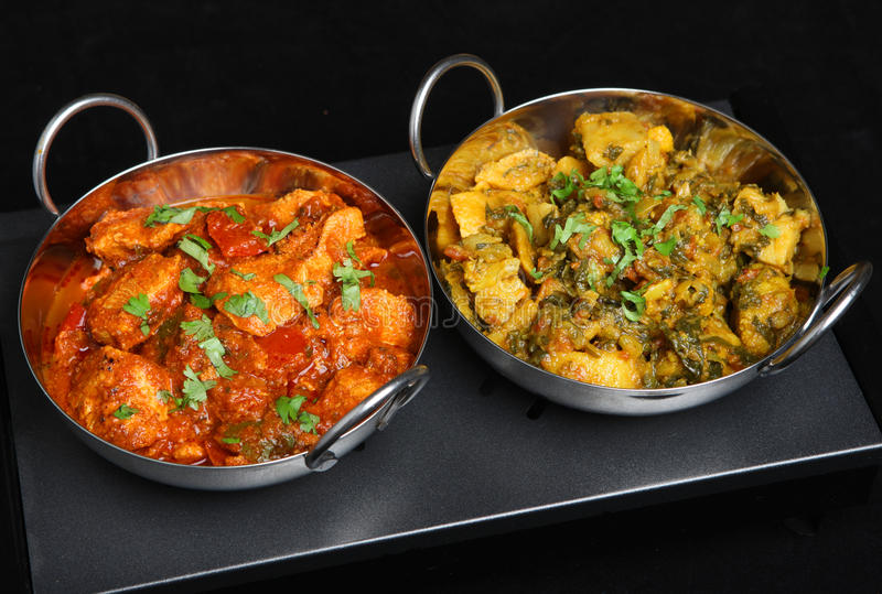 Indian Curry Dishes ob Food Warmer royalty free stock photo
