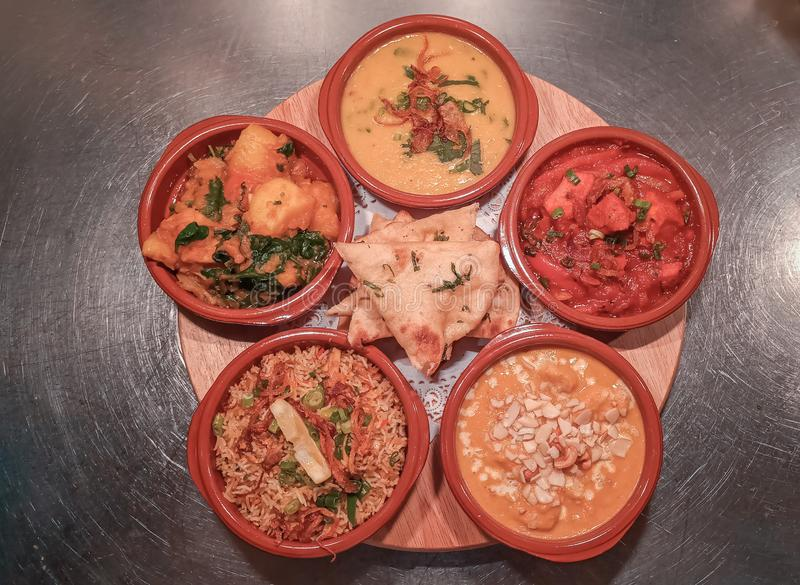 Indian Curry Thali selection royalty free stock photography