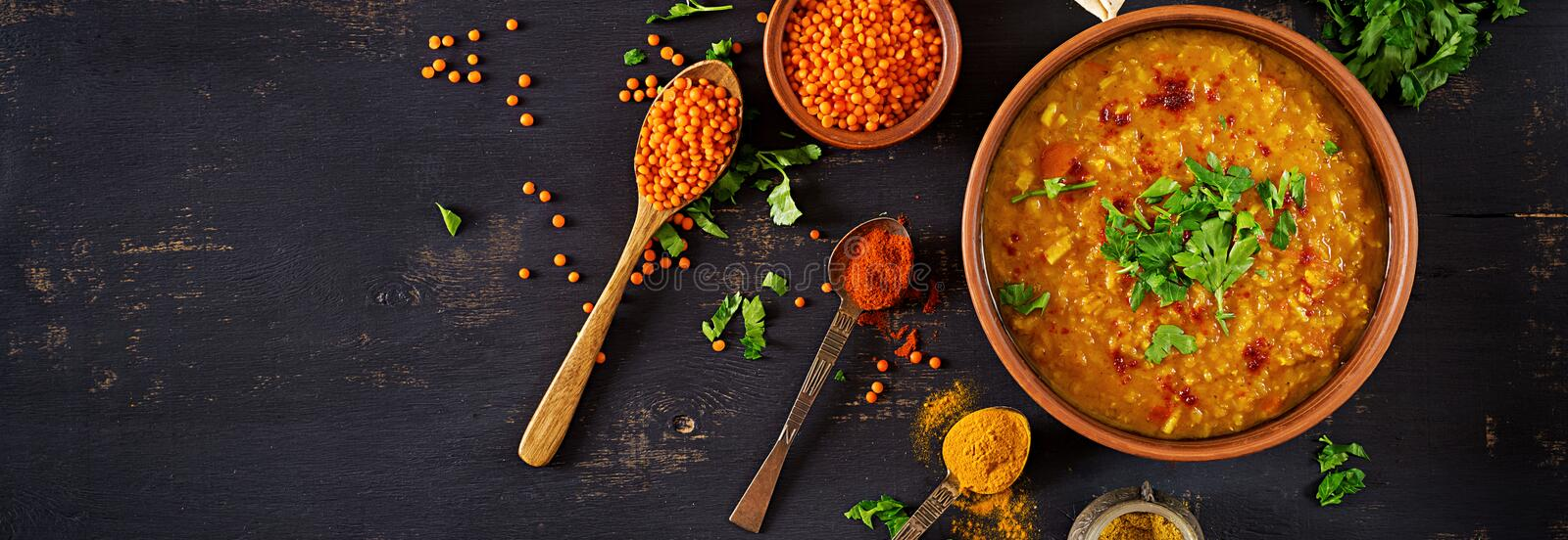 Katsu Sando - food trend japanese sandwich with breaded pork chop, cabbageIndian dal. Food. Traditional Indian soup lentils. royalty free stock photos