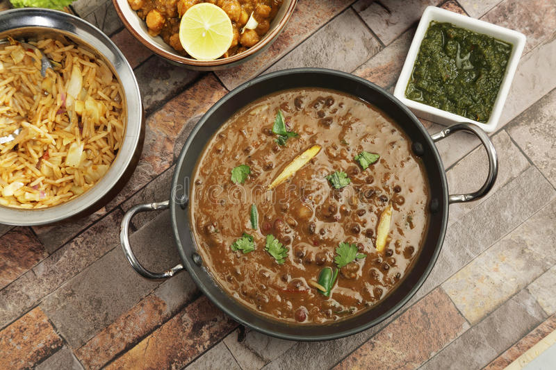 Indian Dal Makhani with Pulav or Vegetable Pulao and Chana Masala royalty free stock photography
