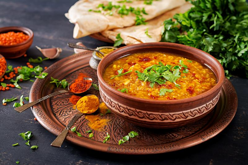 Indian dal. Traditional Indian soup lentils. royalty free stock photography