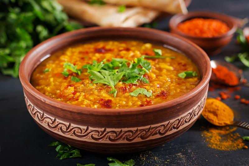 Indian dal. Traditional Indian soup lentils. royalty free stock images