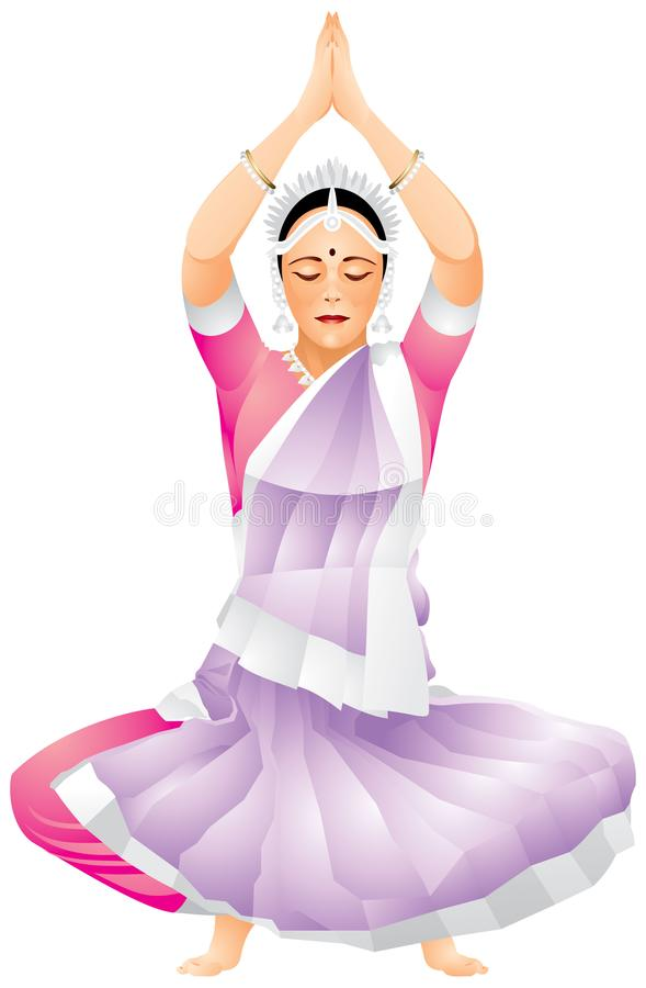 Indian dance, classical Odissi dancer vector illustration