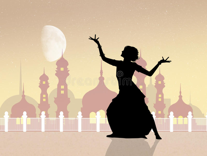 Indian dance at the mosque. Illustration of Indian dance at the mosque vector illustration