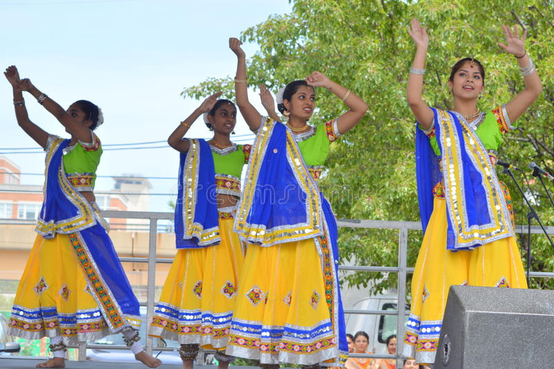 Indian dancers at Chinatown Summer Fair stock photo