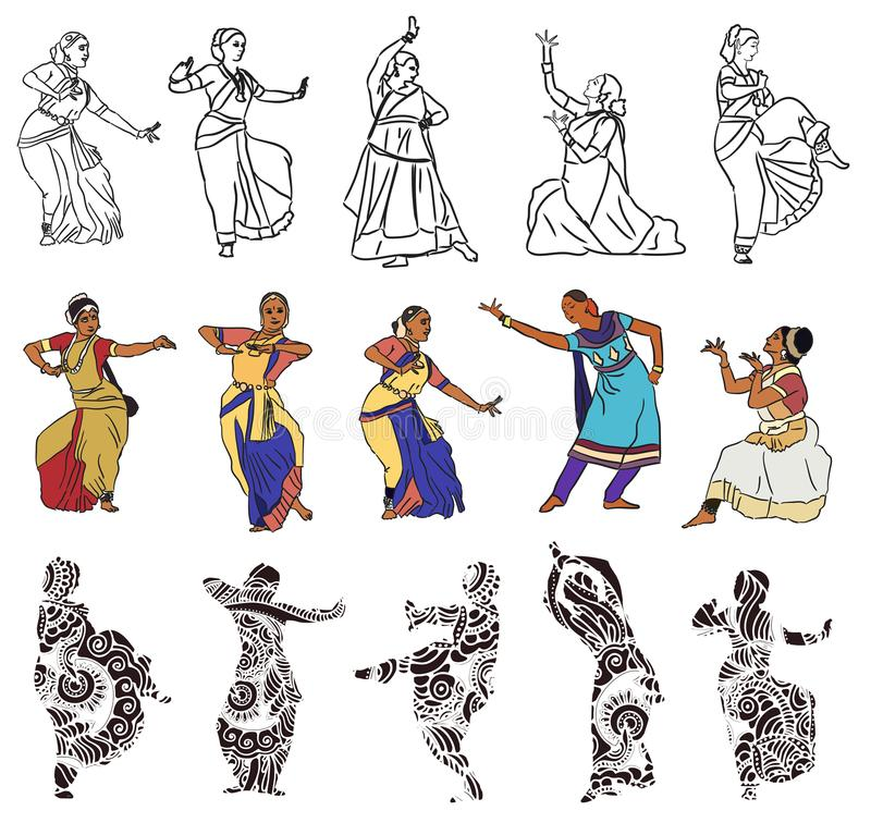 Indian dancers silhouettes. Isolated silhouettes of indian dancers. Vector stock illustration for design on white background stock illustration