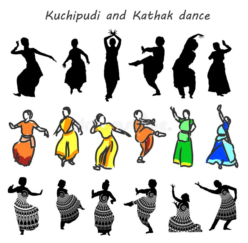 Indian dancers silhouettes. Silhouettes of indian dancers. Vector stock illustration for design on white background stock illustration