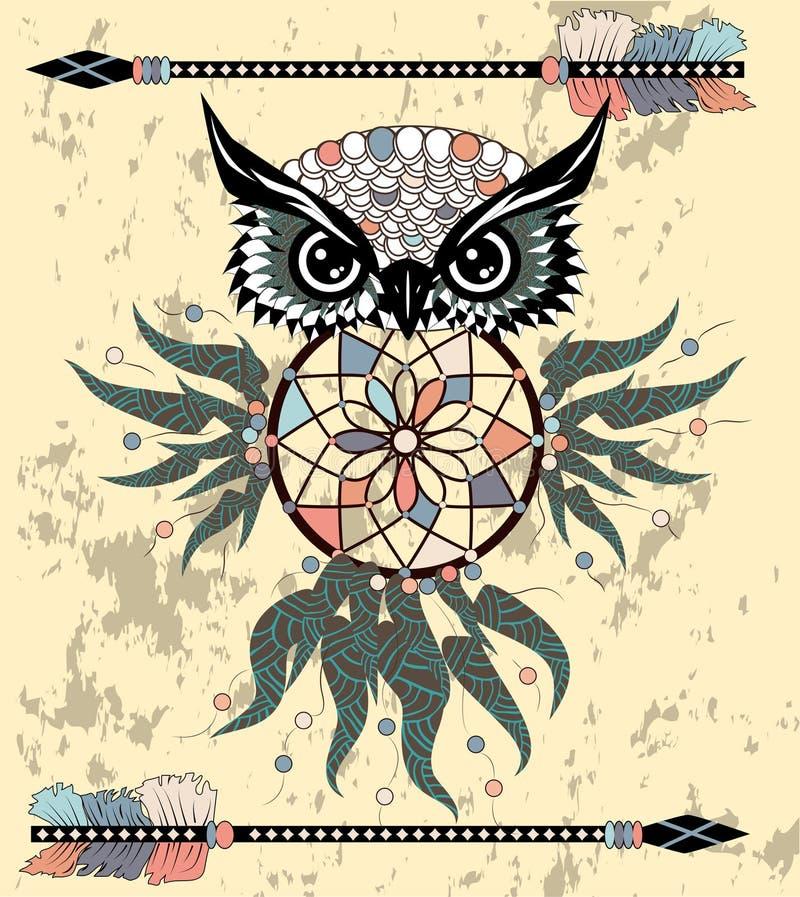 Indian decorative Dream Catcher owl in graphic style. illustration. Indian decorative Dream Catcher owl in graphic style royalty free stock photography