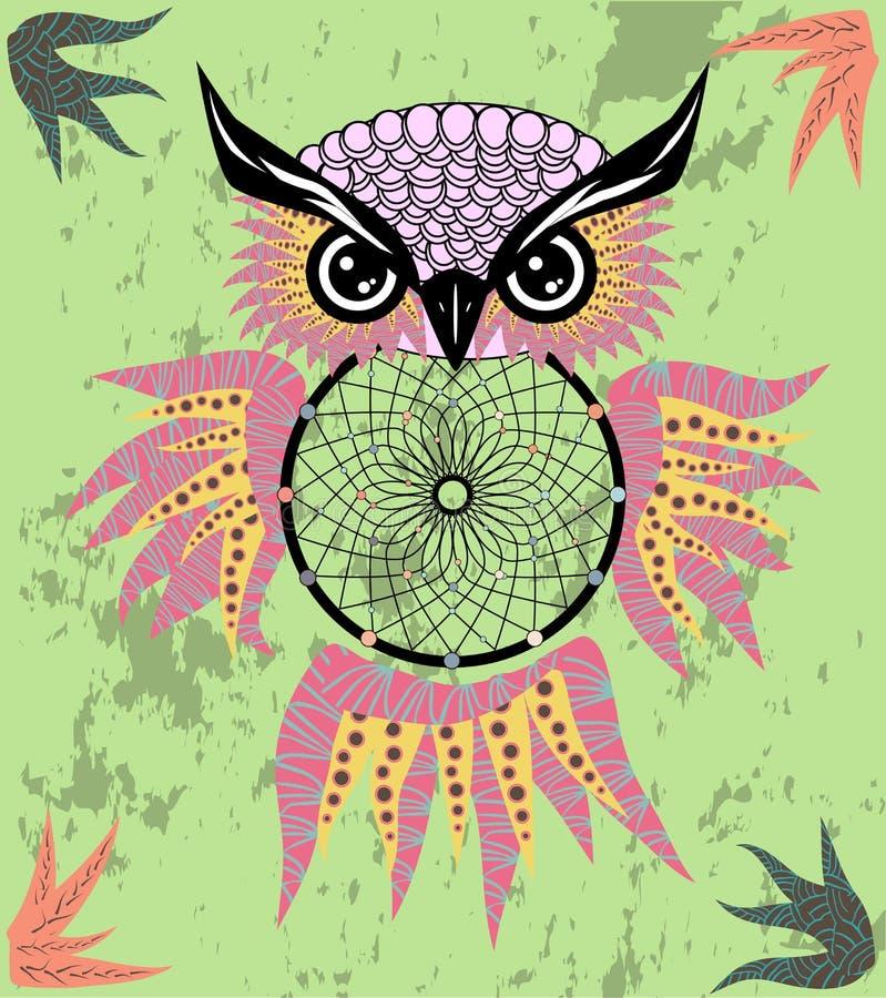 Indian decorative Dream Catcher owl in graphic style. illustration. Indian decorative Dream Catcher owl in graphic style stock image